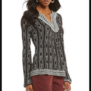 Lucky Brand Embroidered Drop Needle Black Blouse